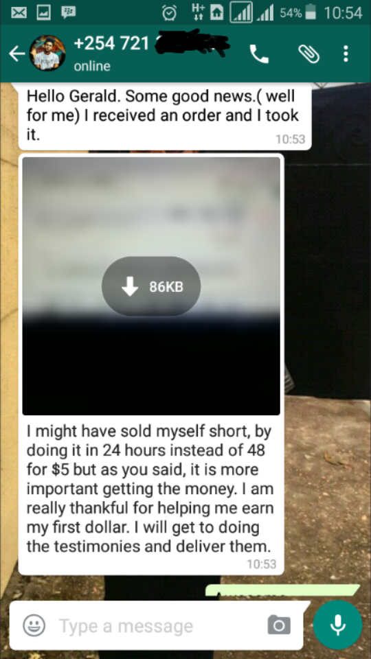 My kenyan Student Just Made His First Sale