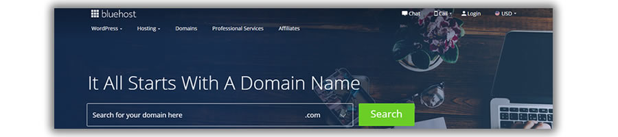 domain name on bluehost